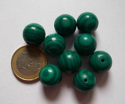 5 Perle Cabochon In Malachite Composta Diametro Mm 15