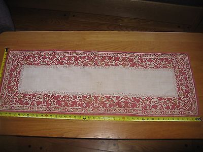 Antique 1920s Linen red & gold printed table runner