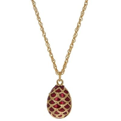 """Red Enamel Pine Cone Royal Egg Pendant Necklace 22"""""""
