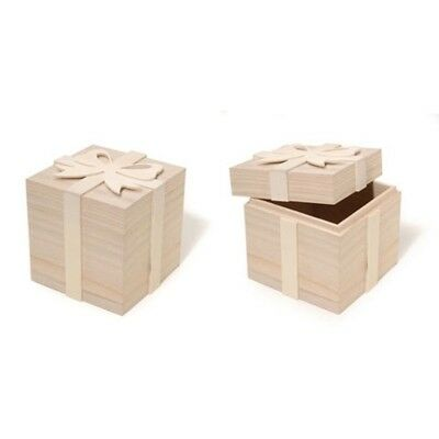 """4"""" Blank Unfinished Wooden Gift Box with Bow"""