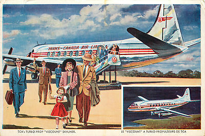 TRANS CANADA AIRLINE ~Turbo Prop Viscount Skyliner~ Scarce DECO Postcard, 1955