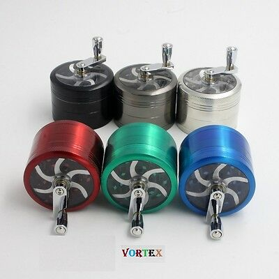 New 5 Colors 4 Part Handle Herb Tobacco Grass Grinder Crusher Aluminium Metal UK