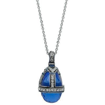 Blue Water Drop Crystal Royal Egg Pendant Necklace 22""