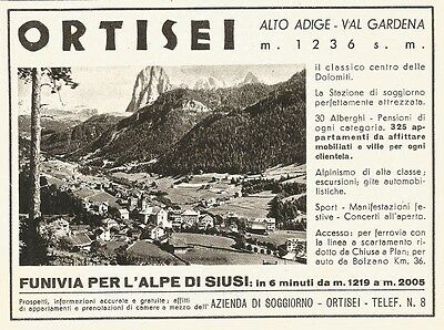 ADVERTISING PUBBLICITÀ 1936 ORTISEI VAL GARDENA - EUR 6,00 | PicClick IT
