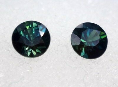 Natural Australian Sapphires .Lot of 2 x 4.00mm round, total of .63 cts.    #124