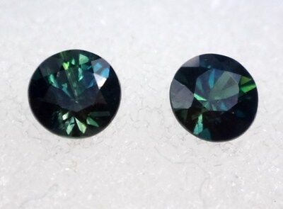 Natural Australian Sapphires Pair of 2 x 4.00mm round, total of .63 cts.    #124
