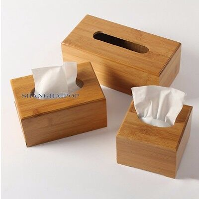 1 X Bamboo Wood Tissue Box Cover Paper Holder Storage Home Decor Office Vintage