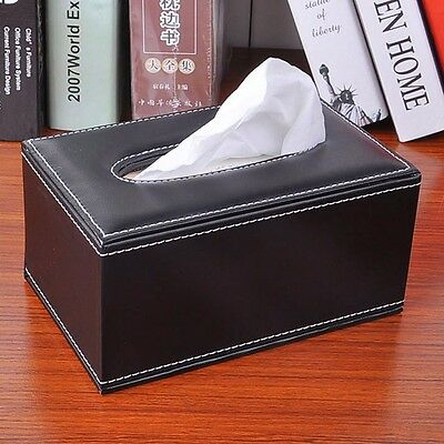 Faux Leather Tissue Box Cover Paper Holder Storage Home Decor Office Vintage New