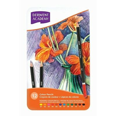 Derwent ACADEMY Coloured Pencils, Assorted, 12pk Set in Tin, Blendable *NEW*