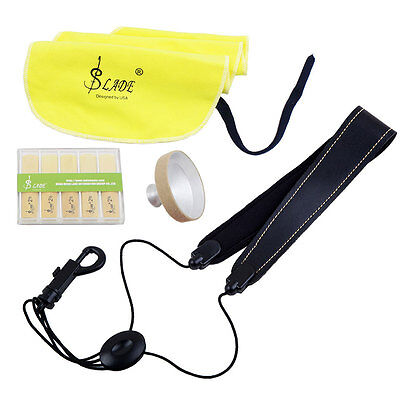 LADE 4-in-1 Alto Saxophone Sax Accessory Kit Belt Cleaning Cloth Reed Mute