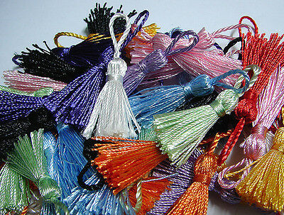 100 x silky rayon  4.5cm tassels 4 keys bookmarks bags  clothes $10 FREE postage