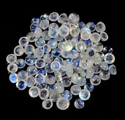 3X3Mm /40Pc Calibrated Natural Rainbow Moonstone Round Cabochon Loose G