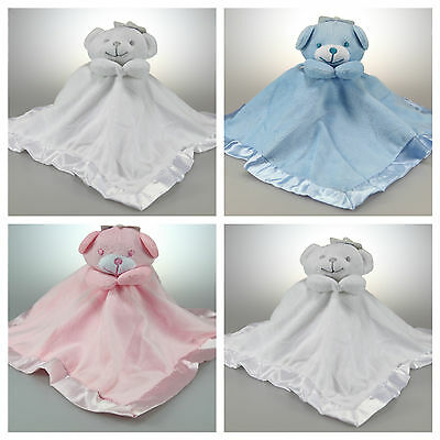New Baby Soft Touch Teddy Comforter Blanket Blankie Boy Girl Pink Blue White