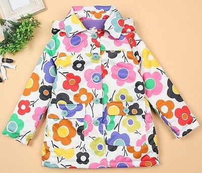 Girls Long Jacket 2-8yrs Bright Colours 2 Designs Durable NEW