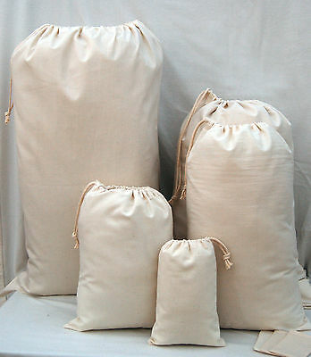 100% Plain Cotton Drawstring Laundry And Storage Bags