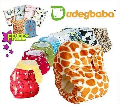 5 Baby Reusable Cloth Pocket Nappy Diaper + 10 Microfibre Inserts/Boosters