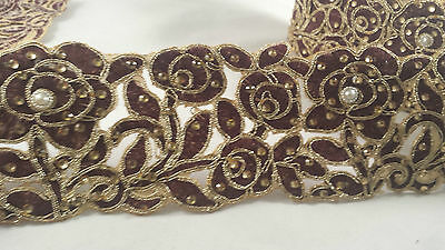*Beautiful maroon & gold embroidered diamante trim lace 4 crafting decor 1M