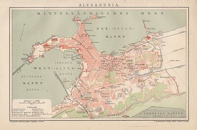 1893 Alexandria Ägypten Alter Stadtplan Landkarte Lithographie Antique City Map