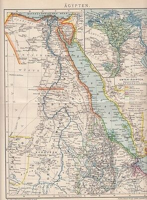 1893 Ägypten Egypt Original Alte Landkarte Karte Lithographie Antique Map