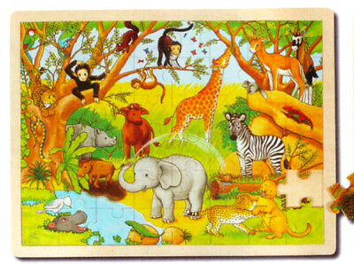 Goki 57892 - Holzpuzzle Tiere in Afrika