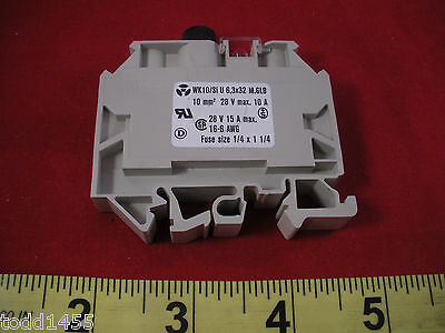 Wieland WK-10/SI-U-6.3X32 Fuse Block M.GLB WK10SIU63X32 10mm 28v 10a New Nnb