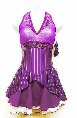 New Competition Skating Dress Elite Xpression Plum Broadway Pin Stripe CXL 12-14