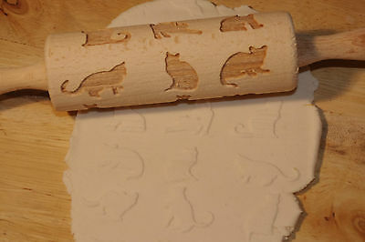 laser engraved rolling pin with cats