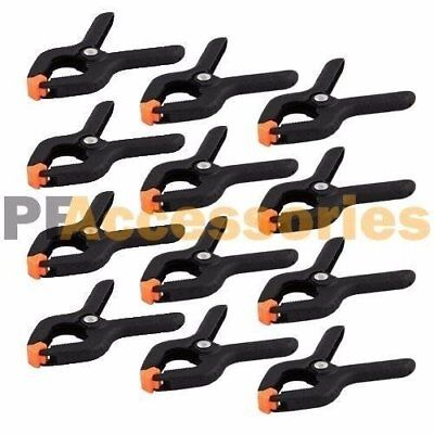 """12 Pcs 2.7"""" inch Mini Plastic Spring Clamps Tips Tool Clip 1"""" Jaw Opening"""