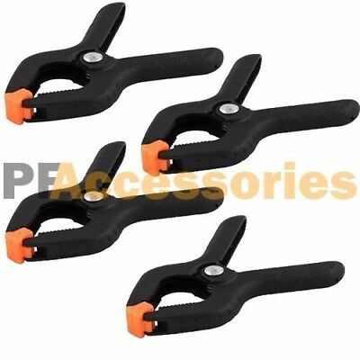 """4 Pcs 2.7"""" inch Mini Plastic Spring Clamps Tips Tool Clip 1"""" Jaw Opening NEW"""