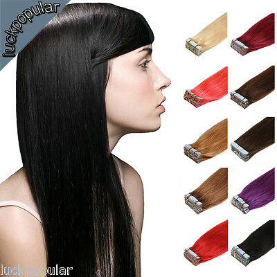 """Grade7A Seamless Super Tape In Skin Weft Remy Human Hair Extensions 16"""" 18"""" 20"""""""