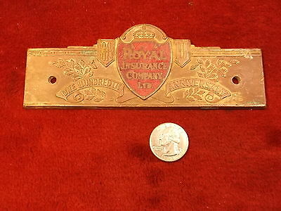 "VERY RARE VTG/ANTIQUE BRASS 1845-1945 ""ROYAL INSURANCE Co, LTD"" 100th Ann PLAQUE"