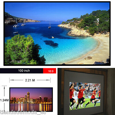 """100"""" inch 16:9 HD Projection Screen Fabric Matte White For Projector Cinema UK"""