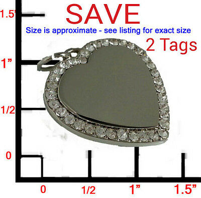 2 LARGE Personalized Bling CZ Silver Heart Pet ID Dog Tag Charm! FREE ENGRAVING!