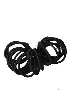 Girls 20 Small Mini Baby Sized Black Thin Hair Elastics Bobbles Bands Snag Free