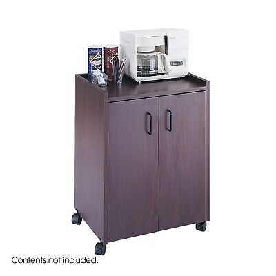 Safco 8953MH Mobile Refreshment Center, Hospitality and Beverage Cart, Mahogany