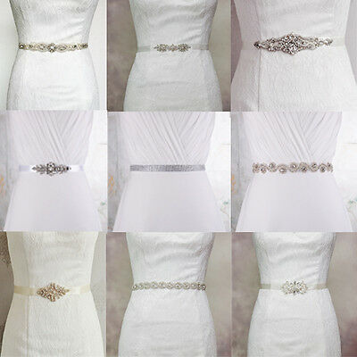 Fashion Beading Crystal Pearl Bridal Ball Gown Sash Wedding Dress Belt Waistband