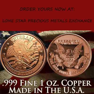Operation Enduring Freedom 1 oz .999 Copper BU Round USA Made Bullion Coin