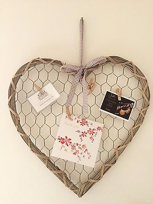 Large Wicker and Wire Mesh Hanging Heart Pegs Gingham Bow Wedding Decoration