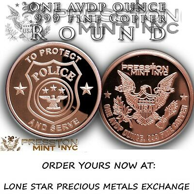 American Heroes Series Police 1 oz .999 Copper BU Round Bullion USA Made Coin