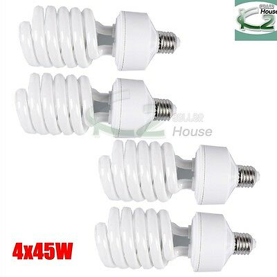 4x 45W 5500K Photo Studio CFL Light Bulbs Daylight Compact  Fluorescent Lamp US