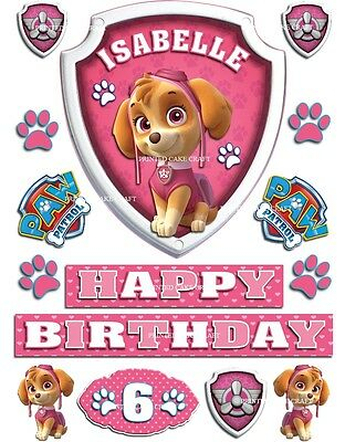 Edible Personalised Paw Patrol Badges Icing Cake Topper Happy Birthday