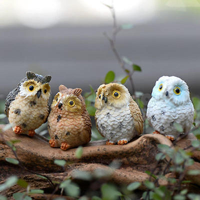 4 pcs Garden Ornament Miniature Owl Resin Figurine Craft Pots Garden Decorative