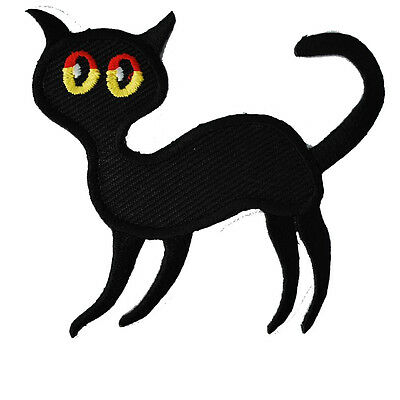 Sexy lucky black CAT Patch Embroidery Iron-On gato katt Katze Fleck Lappa Parche