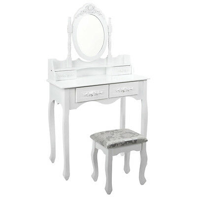 Luxury 4 Drawer Dressing Table Jewellery Cabinet With Stool & Mirror White