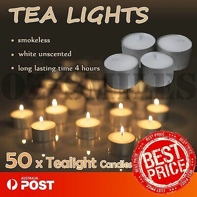 50pcs White Tealight Candle Tea Light Candles Home Decor Party Wedding +4 Hours