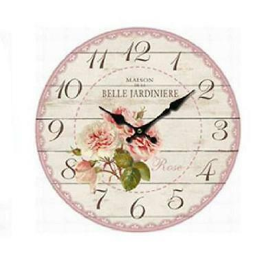 Clock French Country Vintage Inspired Wall Clocks 34CM BELLE PINK ROSES Floral