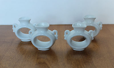 Vintage Abbott White Porcelain Bud Vase Napkin Rings Wedding Bridal Shower