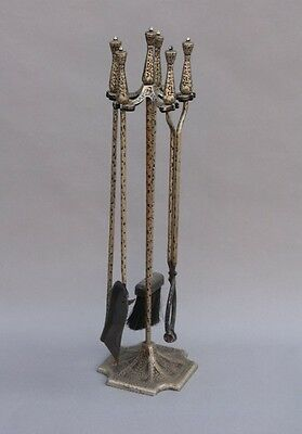 1920s Four Piece Fire Tool Set Silver Tone w Hammered Texture Fireplace (8993)
