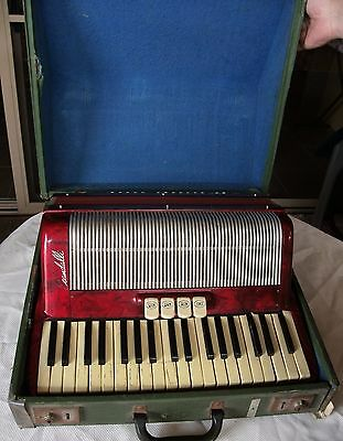 Vintage Piano Accordion red SCANDALLI 114/39 English made case lovely Italy