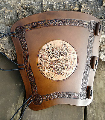 Embossed 2 tone Celtic Owl leather archery arm guard,bracer,armguard,larp,pagan